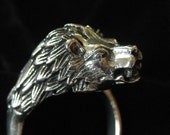 Mexico 950 Sterling Silver Scarf Ring, Lion's Head, 1980's