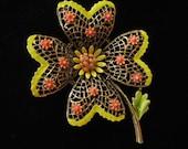 ART Signed Day Glo Enamel Flower Power Brooch