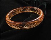 Carved Lucite Bangle Bracelet, Honey Colored