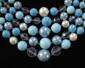 1950's 5 Strand Blue Beaded Necklace