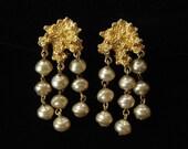 Dangling Abstract Modern Faux Baroque Pearl Earrings