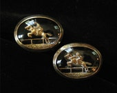 Reverse Carved and Painted Intaglio Equestrian Cuff Links