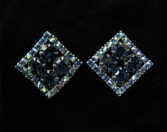 Vintage Sapphire Blue and Blue AB Earrings