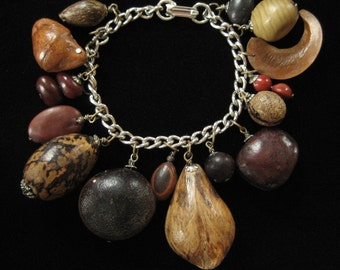 Seeds, Beads, and Nuts, Vintage Natural Charm Bracelet