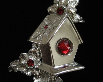 Sterling Silver Birdhouse Brooch, Red Rhinestones