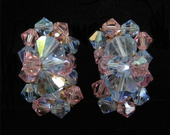 Pink and Blue AB Crystal Cluster Earrings