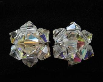 Mini AB Crystal Cluster Earrings