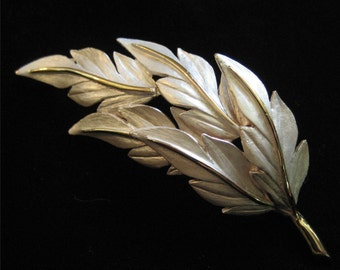 Beautiful White Frosted Leaf Brooch in Gold Tone