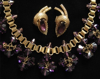1940's Book Chain Necklace, Dangling Amethyst Crystals