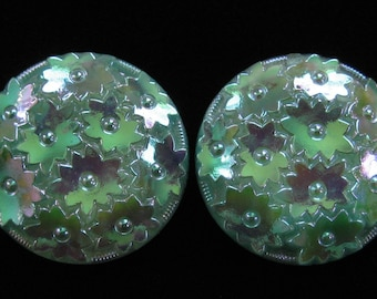 West German Molded Glass Irridescent Earrings