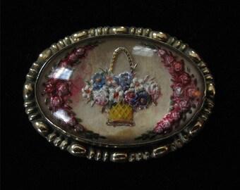 Victorian Reverse Carved Intaglio Pin, Flower Basket Design