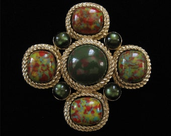"Sarah Coventry ""MOSAIC"" Brooch, 3 Inch Bold Piece"