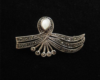 Sterling Silver, Marcasite, Mother of Pearl Pin