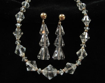 Art Deco Crystal and Gold Filled Necklace and Earring Set, Chain Strung