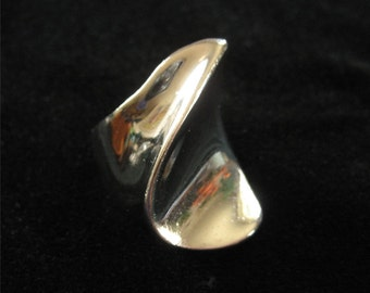 Sterling Silver Modernist Artisan Ring, Unsigned, 1970/1980, Size 6.5