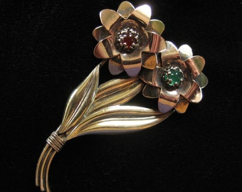 Symmetalic Sterling and 12K Gold Filled Floral Brooch