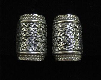 Sterling Silver Rope Design 1/2 Barrel Earrings