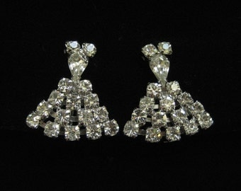 Clear Rhinestone Fan Earrings Circa 1950's