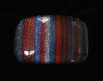 Bold Striped Confetti Lucite Bracelet with Silver Glitter