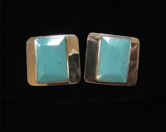 Taxco Sterling Turquoise Vintage Earrings