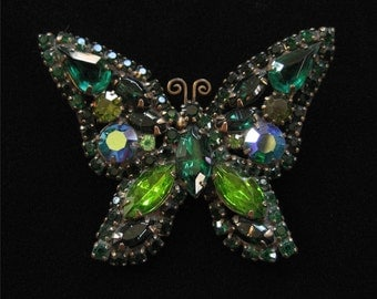 Green Butterfly Brooch, Unsigned