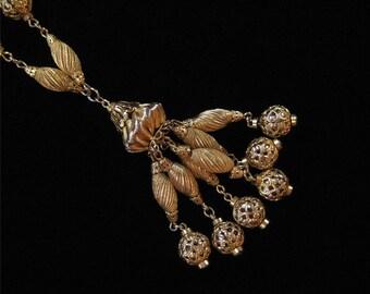 Tassel Pendant Necklace, Filigree Beads