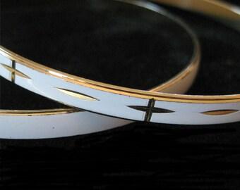 White Enamel Diamond Cut Bangle Bracelets