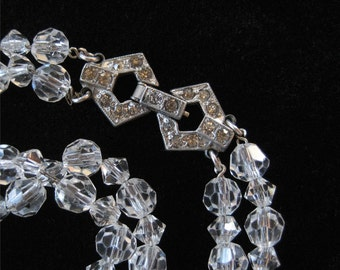 Art Deco Clear Crystal Bracelet, Chain Strung With Pot Metal Clasp
