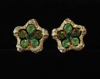 Coro Green Rhinestone Earrings