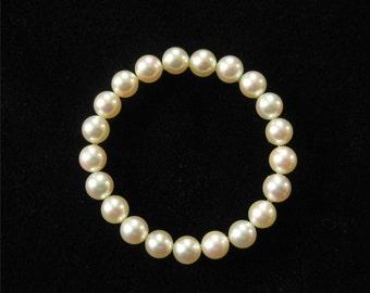 14K Solid Gold Genuine Pearl Circle Brooch