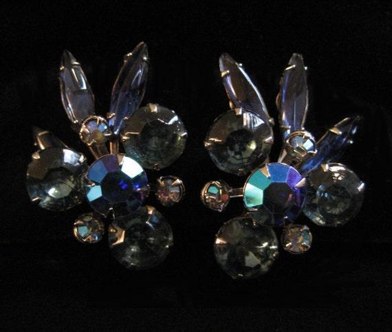 Beau Jewels Blue Rhinestone Earrings