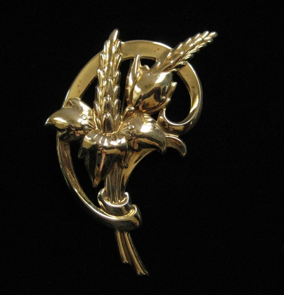 Art Nouveau/Arts and Crafts Brass Stamped Floral Brooch, 3 Inches