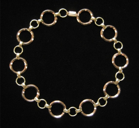 Modernist Gold Filled Choker, Rose and Yellow Gold Color