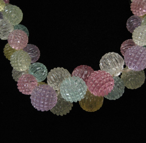 Pastel Celluloid Faceted Beads, Circa 1940's