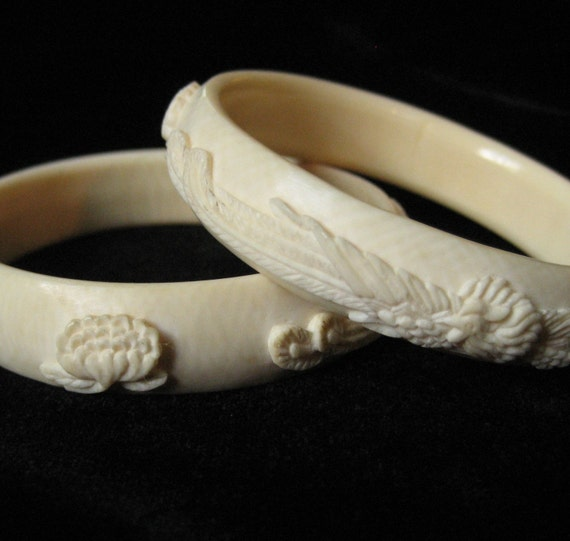 Pair of Carved Pre Ban Ivory Bangles with Phoenix' and Lotus Flowers