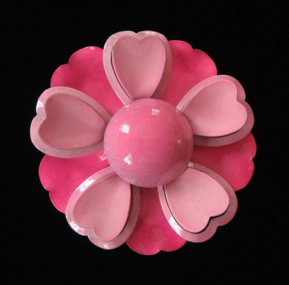 Pink Flower Power Enamel on Copper Brooch, Heart Petals