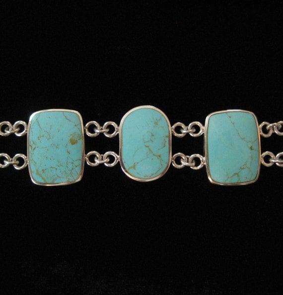 Sterling Genuine Turquoise Bracelet