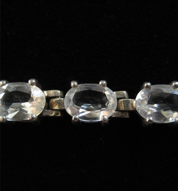 Sterling Silver Tennis Bracelet with Clear Oval Stones
