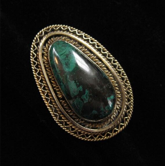 Israel Malachite or Eilat Stone Brooch/Pendant