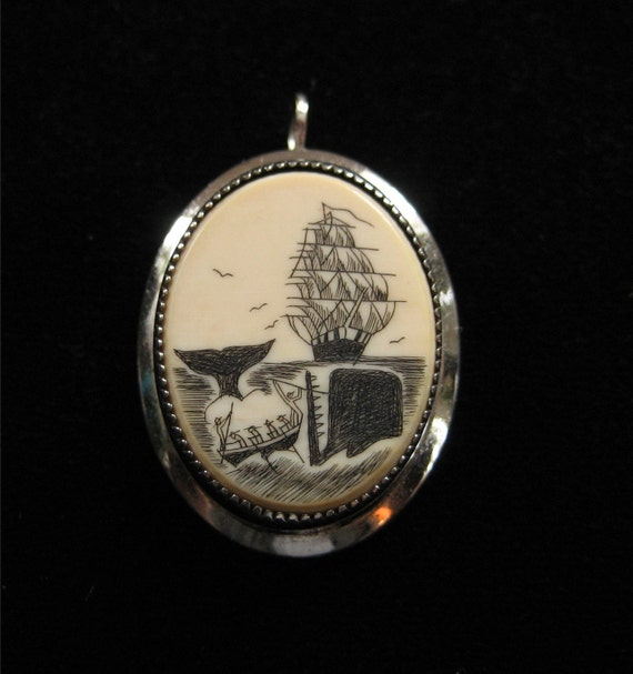 Sterling Silver Scrimshaw Pin/Pendant, Whaling Scene