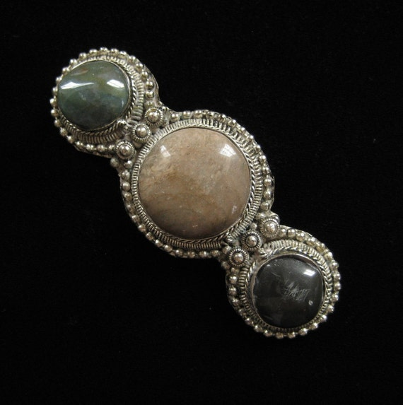 Large Middle Eastern Tribal Brooch with Polished Stones