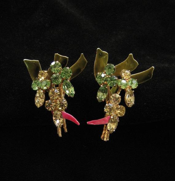 Vendome Enamel and Rhinestone Earrings Spring Colors