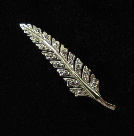 Sterling Silver and Marcasite Leaf Pin
