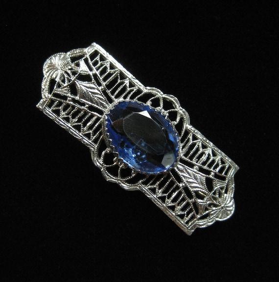 Edwardian Filigree Brooch, Blue Crystal Stone, early 1900's