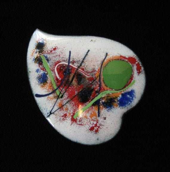 Mid Century Enamel on Copper Abstract Brooch