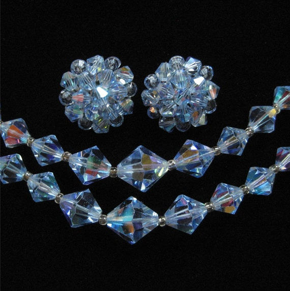 Blue AB Crystal Necklace and Earring Demi Parure