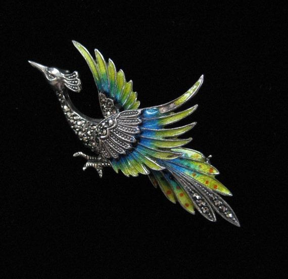 Sterling Silver Enamel Pheasant or Phoenix Brooch, 1920's