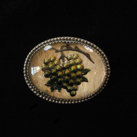 ON HOLD Victorian Reverse Carved Intaglio Pin, Bunch of Grapes