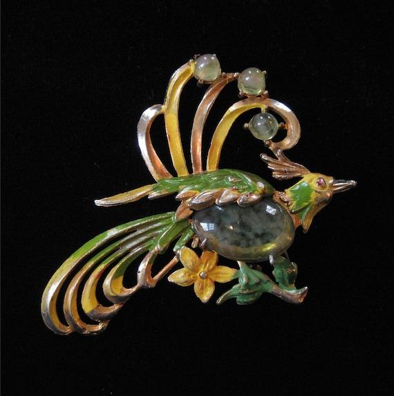 Art Deco Pot Metal Bird Brooch, Enamel, Green Art Glass