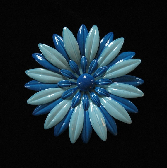 Layered Enamel Blue Flower Power Brooch, 1960's
